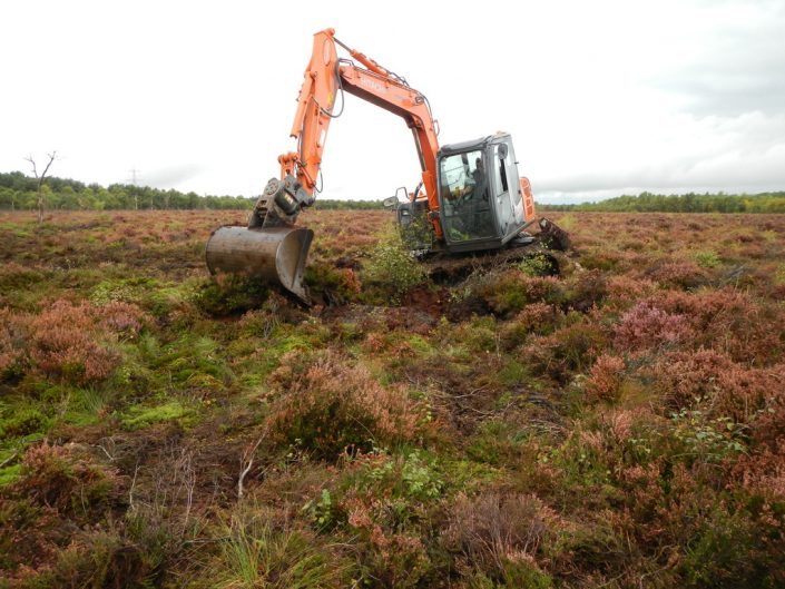 Construction of new peat bund by peatland restoration specialist environmental conservation contractor Conservefor on Wester Moss SSSi for the Butterfly Conservation Trust