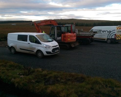 Windfarm development by specialist environmental civil engineering contractor Conservefor - road side drainage, peat excavation and translocation, cabling and peatland restoration work