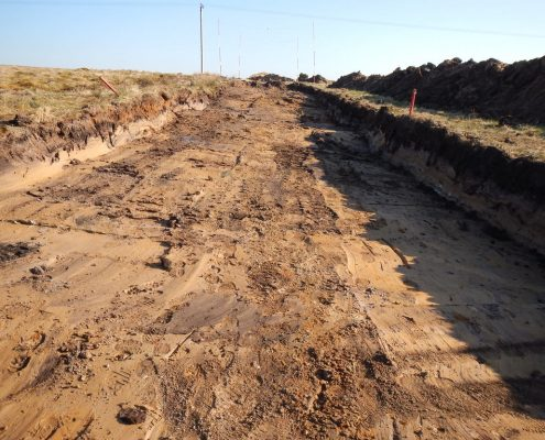 Windfarm development by specialist environmental civil engineering contractor Conservefor excavation of road network and peat translocation