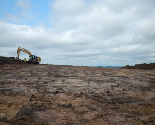 Windfarm development by specialist environmental civil engineering contractor Conservefor work included excavation and peat translocation from crane pads and wind turbines