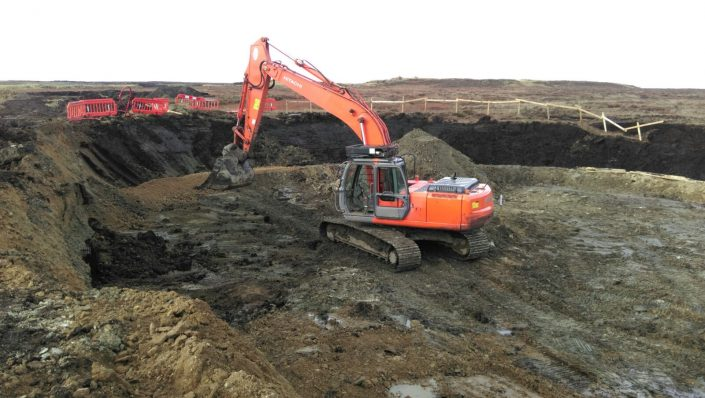Crane pad & turbine peat excavation and translocation by Conservefor peatland contractor