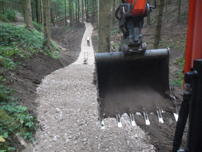 All ability mountain bike trail under construction being built by specialist experienced mountain bike trail construction contractor Conservefor, Forest of Dean, MTB trail build
