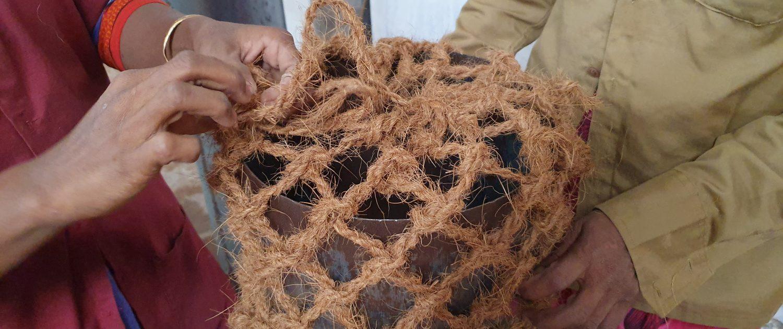 Preparing the coir log netting ready for filling